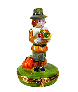pilgrim man at first Thanksgiving Limoges box