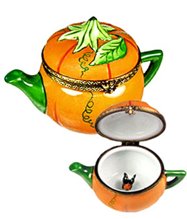 pumpkin teapot with butterfly Limoges box