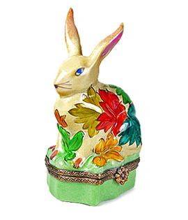 Limoges box rabbit with autumn leaves