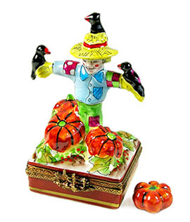 Rochard Limoges box scarecrow with crows