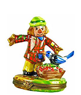 Limoges box scarecrow with bird