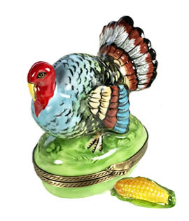 Limoges box turkey with ear of corn