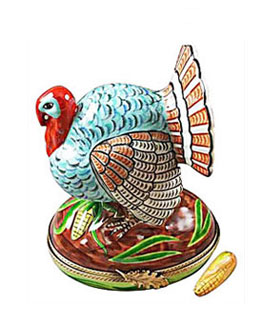 Limoges box turkey with corn from Rochard