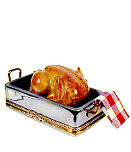 Thanksgiving Turkey in roasting pan Limoges box