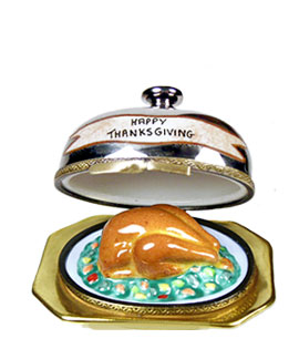 Thanksgiving turkey under silver dome Limoges box