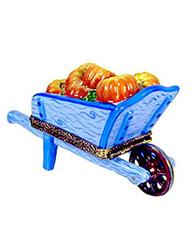 Limoges box blue wheelbarrow with pumpkins