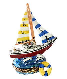 Limoges box sailboat with striped sails and life buoy