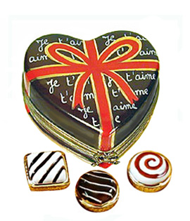 Chocolate heart Je'taime candy Limoges box with removable candies