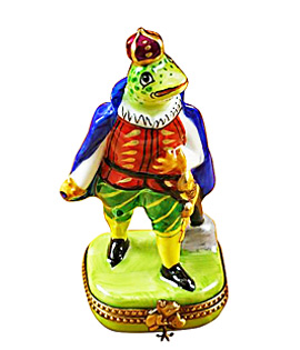 Limoges box prince frog in royal finery