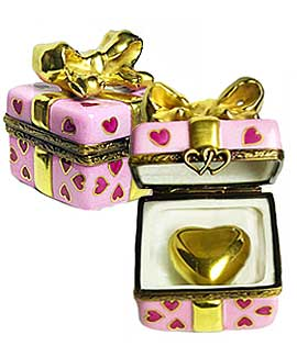 Limoges box gift with gold ribbon and heart