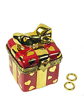valentine gift Limoges box with wedding rings