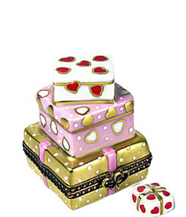stack of valentine gifts and removable gift Limoges box
