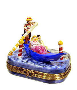 Gondola with couple and gondolier Limoges box