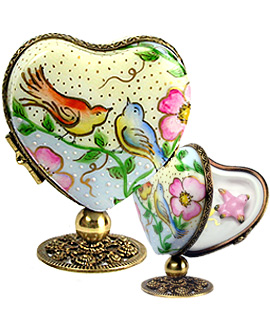 standing heart Limoges box with love birds