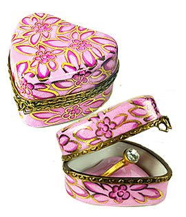pink hearts ring box Limoges box with piorcelain insert and ring