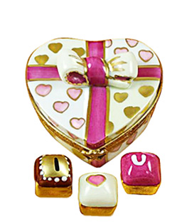 heart shaped pastry carton Limoges box I Love You