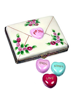 Limoges box valentine letter with candy hearts