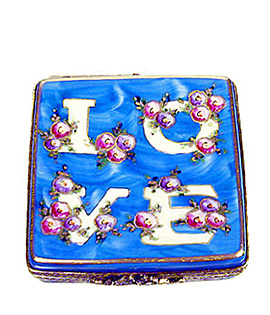 Rochard LOVE Limoges box - blue with roses