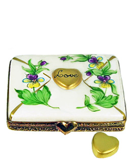 Limoges box letter with pansies and gold heart