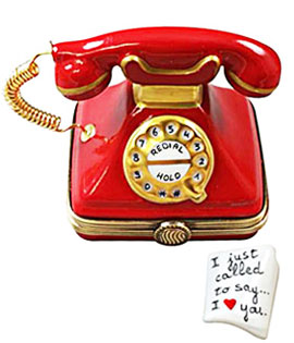Limoges box red phone - just called to say I love you