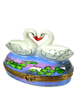 loving swans on pond Limoges box