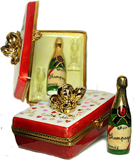 valentine champagne case Limoges box with gold bow, bottle and glasses