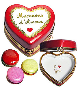 Limoges box macarons in heart shaped pastry box