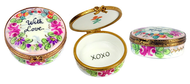 "more views of round ""with love"" Limoges box"