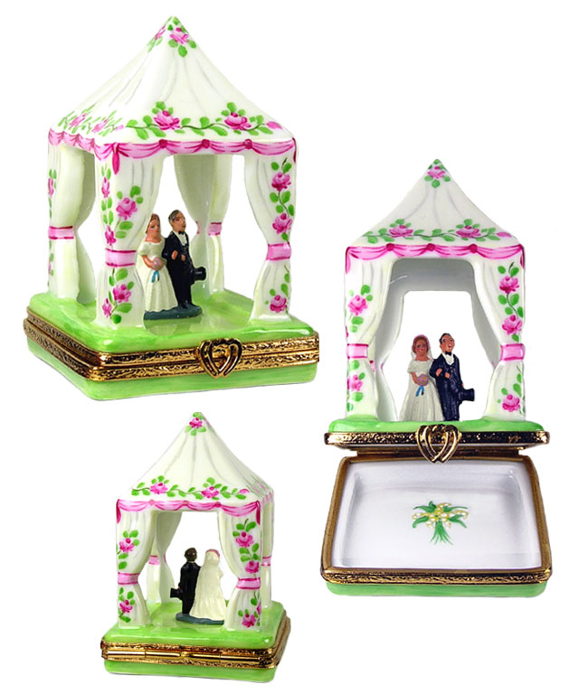 Limoges box  wedding couple under canopy with roses
