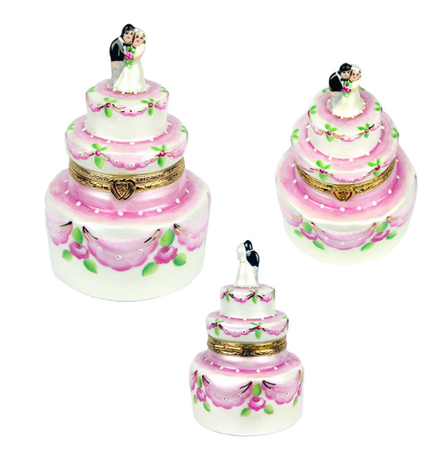 wedding cake Limoges box - pink and cream