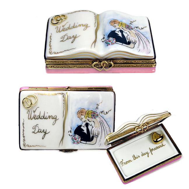 wedding album Limoges box with gold rings