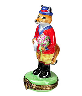 Mr. Fox with bouquet Limoges box