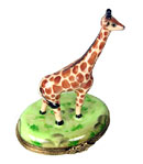 Limoges box small giraffe in jungle