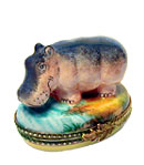 Limoges box hippo at stream