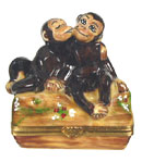 Loving Monkeys on a Log Limoges Box