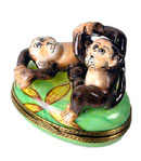 Limoges box playful monkeys