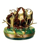 Limoges box No Evil Monkeys with branch clasp