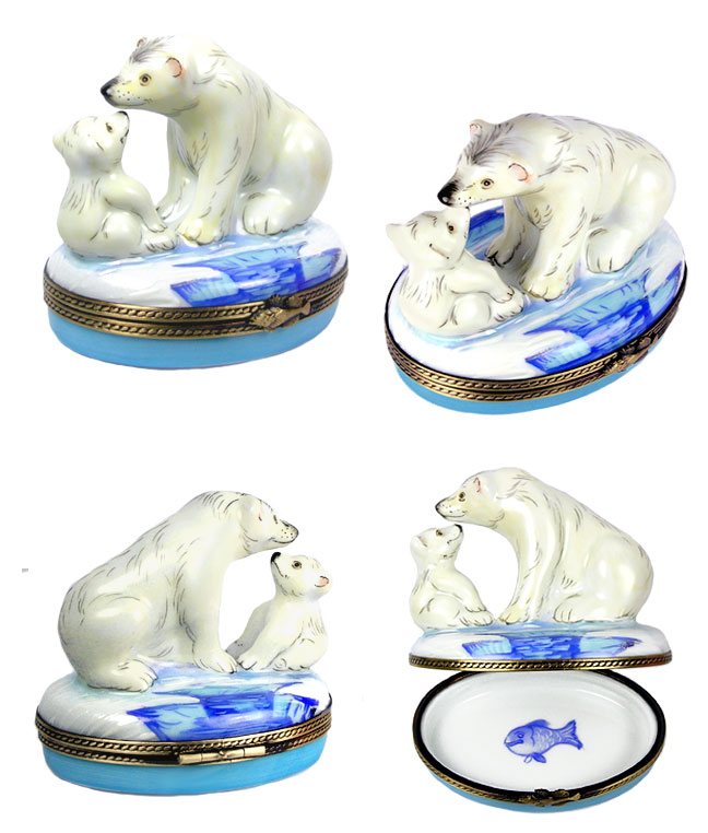polar bear mother and cub Limoges box