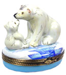 Limoges Box Polar Bear with Cub on Ice