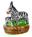 Limoges box zebra and baby